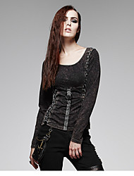 PUNK RAVE black sexy lady hollow out long sleeve T-shirt with belts