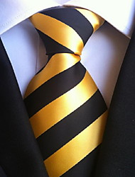 Men Wedding Cocktail Necktie At Work Black Yellow Tie