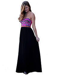 Women's Sexy / Print Print Ball Gown Dress , Strapless Maxi Chiffon