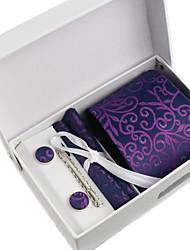 Галстук / Нагрудный платок / Зажим для галстука / Запонки (Фиолетовый / Бордовый , Полиэстер) Узор