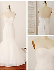 Trumpet/Mermaid Wedding Dress - Ivory Sweep/Brush Train Sweetheart Tulle
