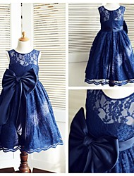 A-line Tea-length Flower Girl Dress - Lace / Satin Sleeveless Jewel with