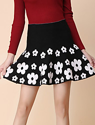 Women's Floral Red / White Skirts , Vintage / Sexy Mini