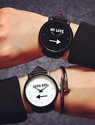 Мужской Женские Для пары Модные часы Кварцевый Кожа Группа Часы с текстом