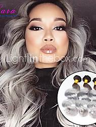 3pcs onda del cuerpo brasileño / lot plata ombre gris pelo que teje 1b / gris extensiones de cabello humano virgen dos tonos brasileños