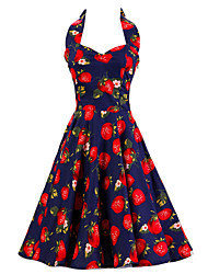 Women's Dark Blue Strawberry Pattern Floral Dress , Vintage Halter 50s Rockabilly Swing Dress