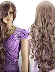 Women's Fashionable Long Light Brown Wave Wigs with Side Bang