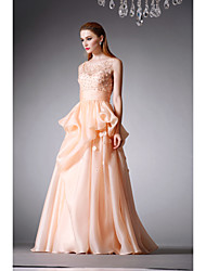 Formal Evening Dress - Champagne A-line Jewel Floor-length Organza
