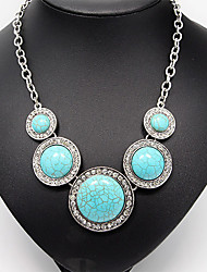 Antique Silver Round Turquoise Pendant Necklace (1 Pc)