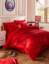 ropa de cama de algodón establecido moda sarga gran edición del lecho de flores cuatro piezas