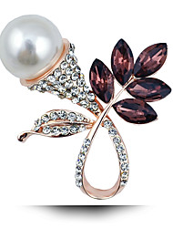 Fashion Natural Freshwater Pearls Full Diamond Brooch Leaves