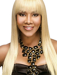 Natural Long Straight Virgin Remy Human Hair Hand Tied-Top Capless Woman's Wig