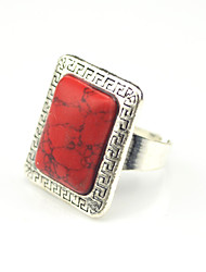Vintage Antique Silver Square Seashell Turquoise Lava Stone Adjustable Free Size Ring(1PC)