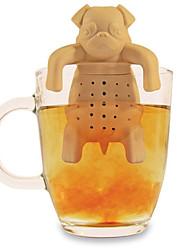 café infusor de chá de silicone pug bonito na caneca do filtro bule de ervas tempero coador (cor aleatória)