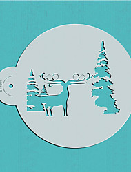 Christmas Reindeer and Tree pattern Cake Stencils Decoration Plastic Decoration Wall Supplies Stencil  ST-1291