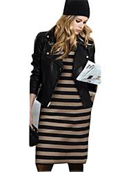 Women's Striped Black / Navy Blue Dress , Casual V Neck Long Sleeve