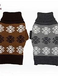 Katzen / Hunde Pullover Braun / Grau Hundekleidung Winter Schneeflocke Lässig/Alltäglich
