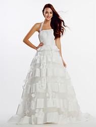 Lanting A-line Wedding Dress - Ivory Sweep/Brush Train Halter Organza / Satin