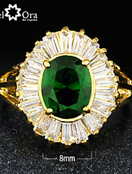 New 2015 Fashion Noble Green Cubic Zirconia Gold Plated Lady Ring For woman&lady