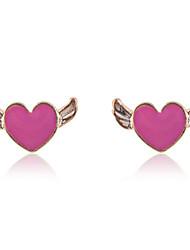 Korean Fashion Enamel Heart With Swing Stud Earrings