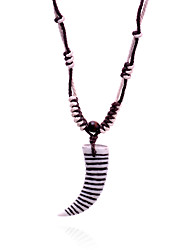 Ethnic  Resin  Horn Pendant  Wax Cord  Adjustable Necklace