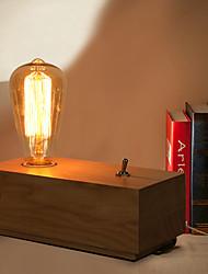E27 20*10*7CM 15-20㎡220V Button Switch Edison Bulbs Bedroom Nightstand Real Wood Desk Lamp LED Light