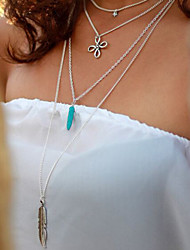 Women's Vintage Turquoise Tassel Multilayer Metal Feather Stars Pendant Necklace