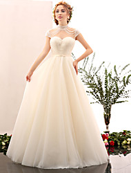 A-line Wedding Dress Floor-length High Neck Tulle / Stretch Satin with Beading / Sash / Ribbon