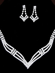 European Style Fashion Shiny Rhinestone Necklace Earring Set Bridal Set