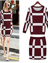 Peach John Women's Plaid Bodycon Knited Two Piece Suits