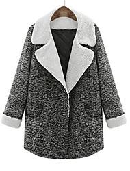 Peach John Women's Plus Size Solid Color Casual Long Sleeve Coats