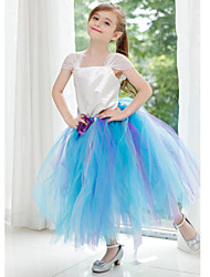 Ball Gown Ankle-length Flower Girl Dress - Tulle / Polyester Short Sleeve Queen Anne with