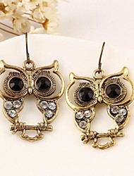 Vintage Wholesale Women Rhinestone Owl Drop Earring