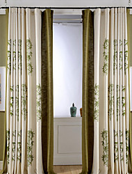 (Two Panels)Modern Bamboo Embroidered Linen/Cotton Blend Curtain(Sheer Not Included)