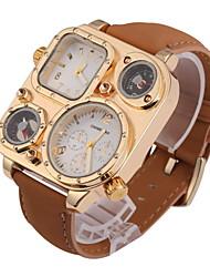 Мужской Наручные часы С двумя часовыми поясами Кварцевый Кожа Группа Хаки