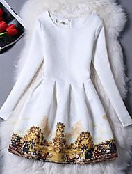 Women's Elegant Lady Beatiful Print Round Long Sleeve Slim Dress