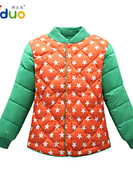 5-10T Kids Apparel Boys Stars Winter Button Stickup Down-filled Thicken Down Jacket Coat
