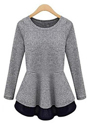 Women's Patchwork Black / Gray Blouse , Round Neck Long Sleeve