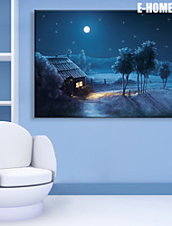 E-HOME® Stretched LED Canvas Print Art Small Village of Night LED Flashing Optical Fiber Print One Pcs