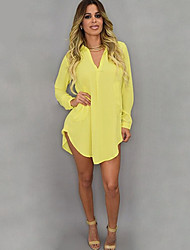 Women's Solid White / Yellow Blouse , V Neck Long Sleeve