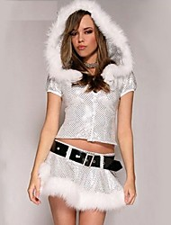Silver Sweet Polyester Sexy Women's Christmas Costume(Top+Skirt+Belt)