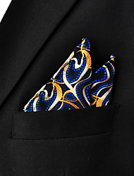 Men's Ripple Navy Blue Hanky 100% Silk Business Fashion Pocket Square