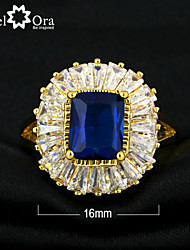 New 2015 Fashion Noble Blue Cubic Zirconia Gold Plated Lady Ring For woman&lady