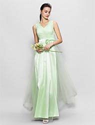Lanting Floor-length Tulle Bridesmaid Dress - Sage A-line V-neck
