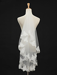 Wedding Veil One-tier Fingertip Veils Lace Applique Edge Tulle Ivory White / Ivory