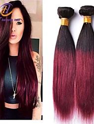 3pcs / lot del color 12-26inch brasileño pelo lacio pelo virginal ombre 1b / 99j del pelo humano sin procesar teje venta caliente.