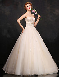 Prom Formal Evening Dress - Sparkle & Shine Ball Gown Sweetheart Floor-length Lace Satin Tulle with Beading Sash / Ribbon