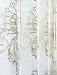 (Two Panels)Classic Floral Embroider Sheer Curtain Curtain
