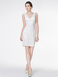 Lan Ting - Sheath/Column Wedding Dress - Ivory Short/Mini V-neck Lace