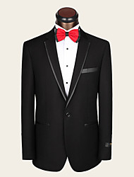 Suits Slim Fit Notch Single Breasted One-button Wool Solid 2 Pieces Black